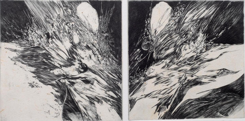 Irruptio I et II - burin et aquatinte - 40 x 20 cm
